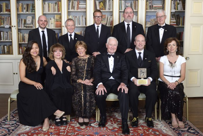 Photo of the Globe and Mail delegation, including David Walmsley and Ingrid Peritz, with Mercedes Benegbi and the Mitchener Award Jury Credit: Sgt Ronald Duchesne, Rideau Hall, OSGG